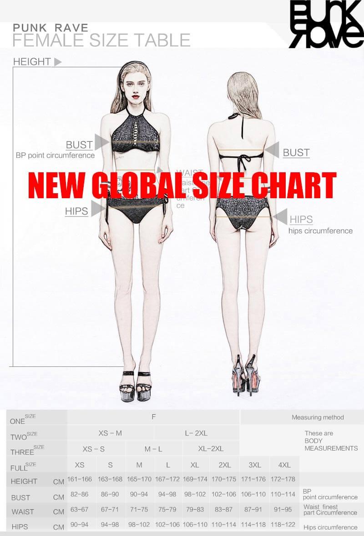 Punk Rave Australia - New Global Size Chart