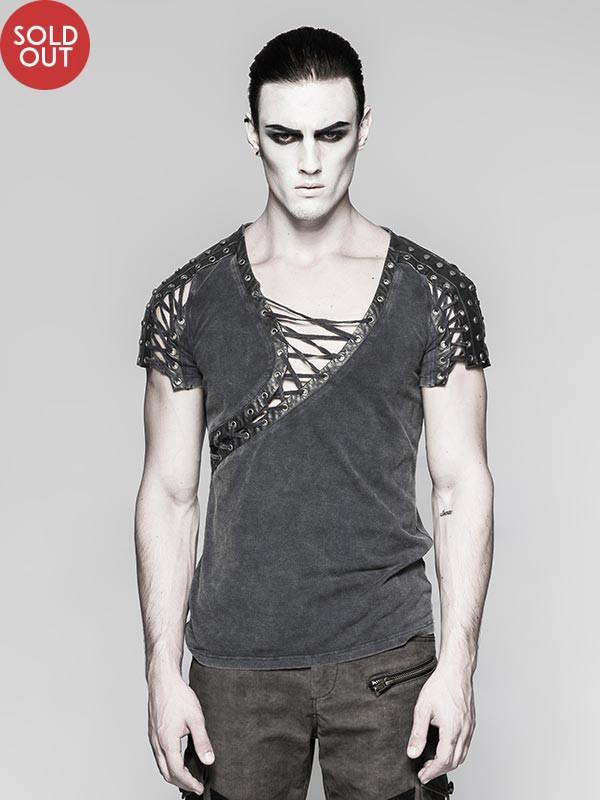Mens Steampunk Asymmetrical Short Sleeve T-Shirt