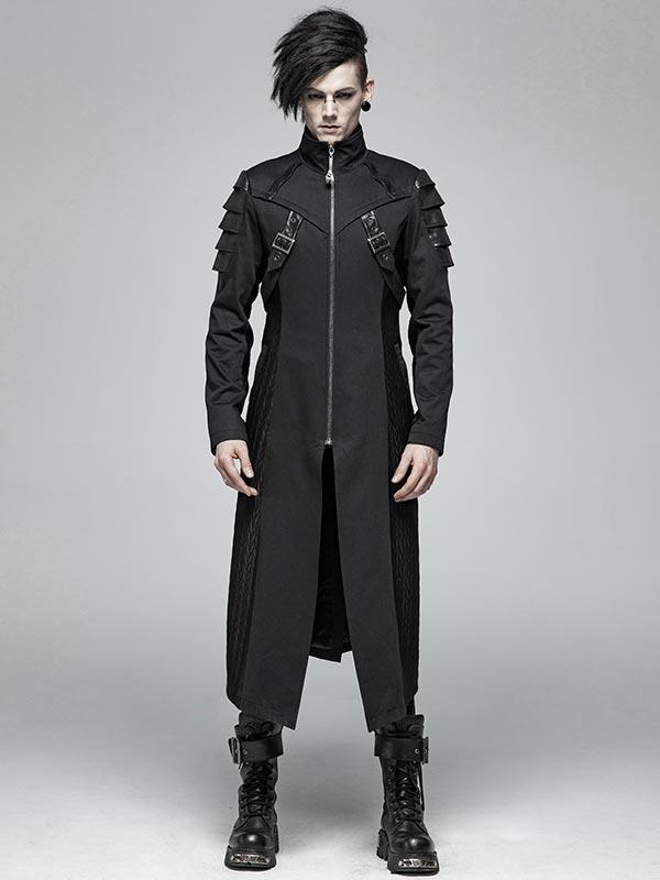 Mens Punk Armor Long Coat