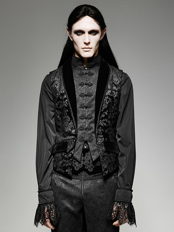 Mens Gothic Fake Two-Piece Swallow Tail Sleeveless Vest