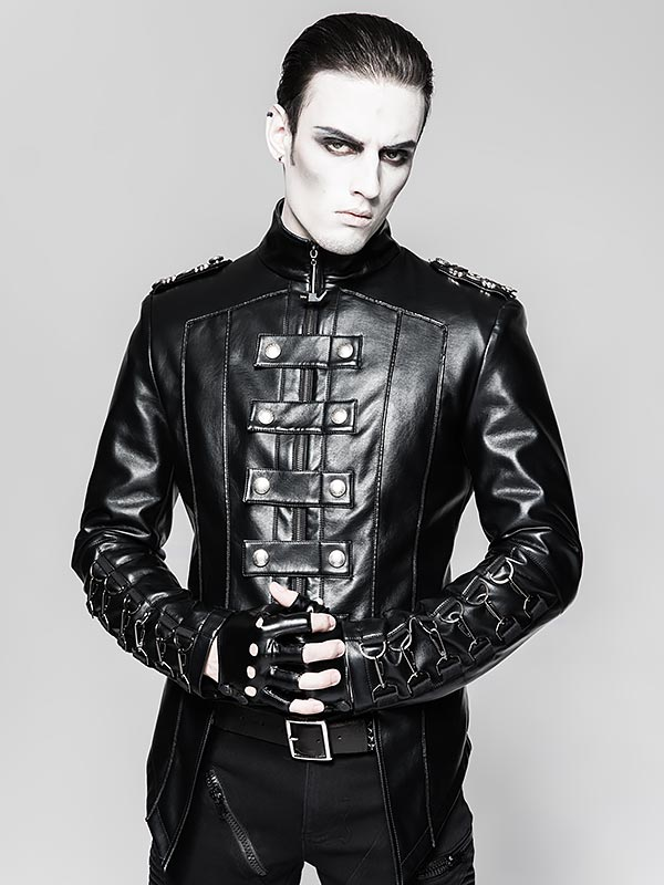 Mens Heavy Punk Military Uniform Leather Jacket