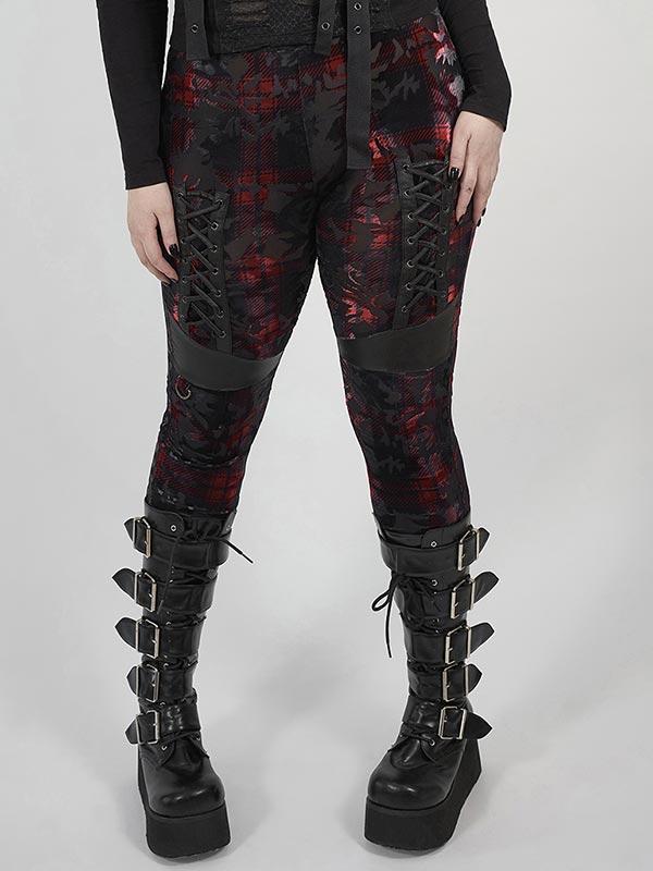 Plus-Size Dark Velvet Leggings - Red