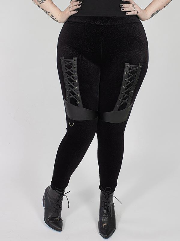 Plus-Size Dark Velvet Leggings - Black