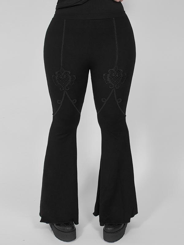 Plus Size Gothic Flared Pants - Black