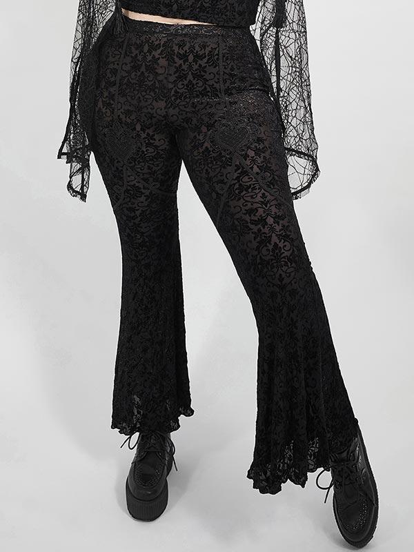 Plus Size Gothic Flared Pant - Black & Rose Gold