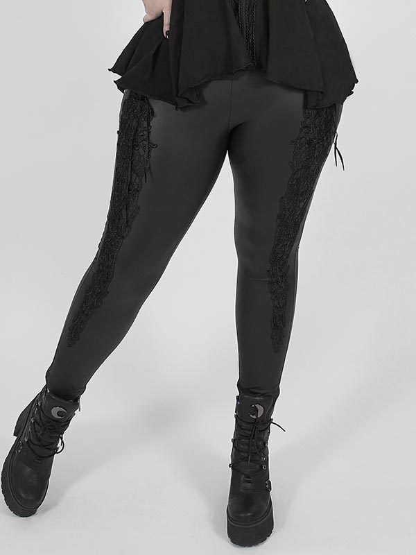 Plus-Size Gothic Stretch Leather Leggings