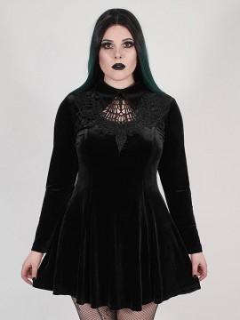 Plus-Size Goth 'Dark Night' Series Black Velvet Vines Dress