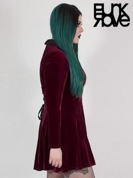 Plus-Size Goth 'Dark Night' Series Red Velvet Vines Dress