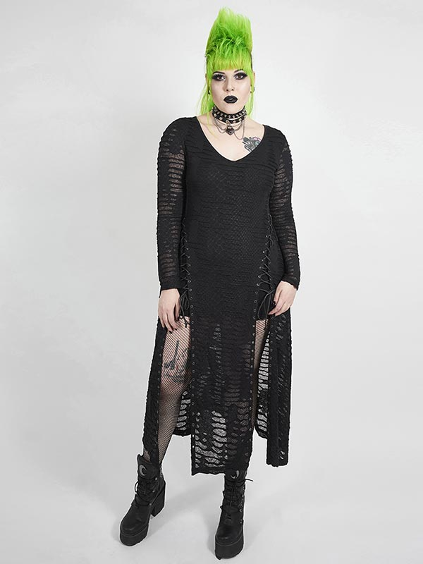 Plus-Size Gothic Snake Scales Flower Dress
