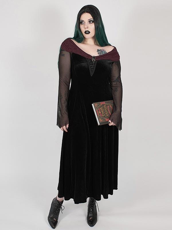 Plus-Size Gothic Black Feather Dress