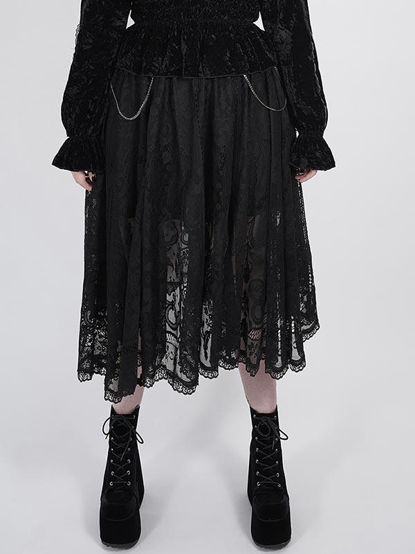 Plus-Size 'Dark Night' Series Gothic Lace Skirt