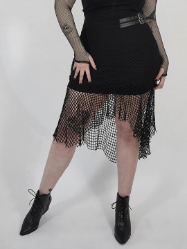 Plus-Size Punk Enchanting Fishtail Mesh Skirt