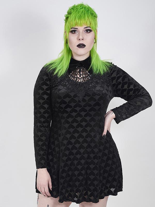 Plus-Size Goth 'Dark Night' Series Velvet Hearts Black Vines Dress