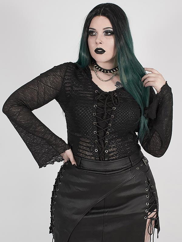 Plus-Size Punk Semi-Transparent Ripped Hoodie-Style Top
