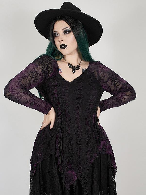 Plus-Size Gothic Split Handkerchief Top - Violet