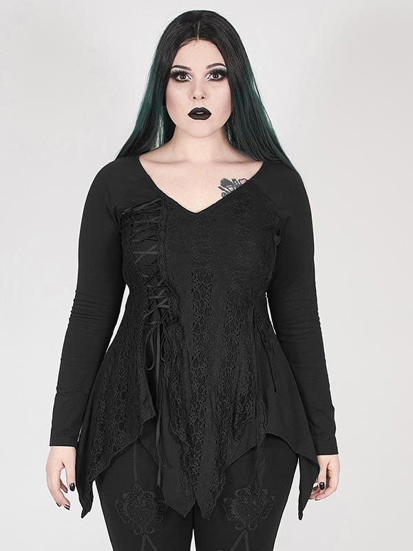 Plus-Size Gothic Split Handkerchief Top - Black