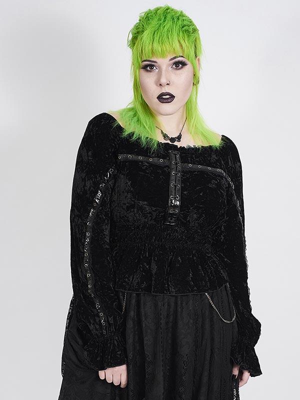 Plus-Size Gothic Dark Horizons Top - Black