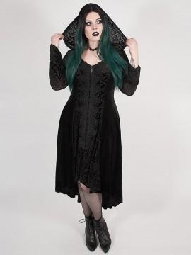 Plus-Size Gothic Chinoiserie Dark Velvet Long Coat