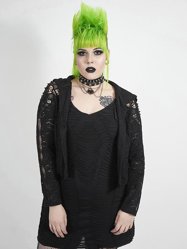 Plus-Size Gothic Chinoiserie Rose & Spiked Nails Hoodie Jacket