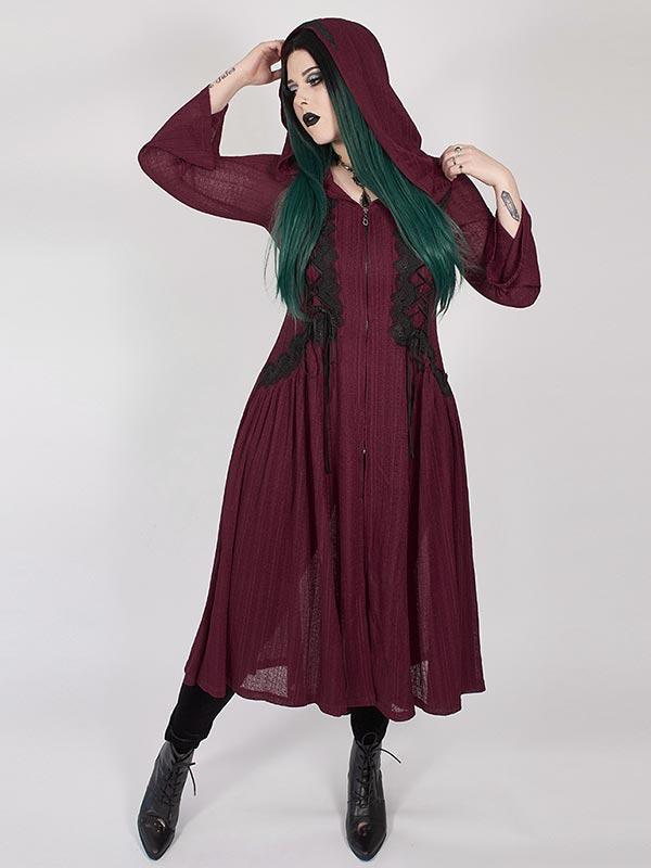 Plus-Size Gothic Dark Moon Long Coat - Red