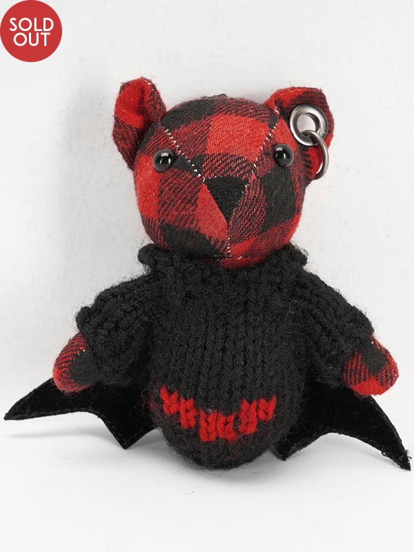 Gothic Black & Red Plaid Bat Bear