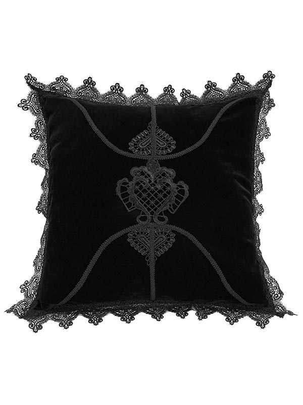 Gothic Flowers Cushion Cover - Black