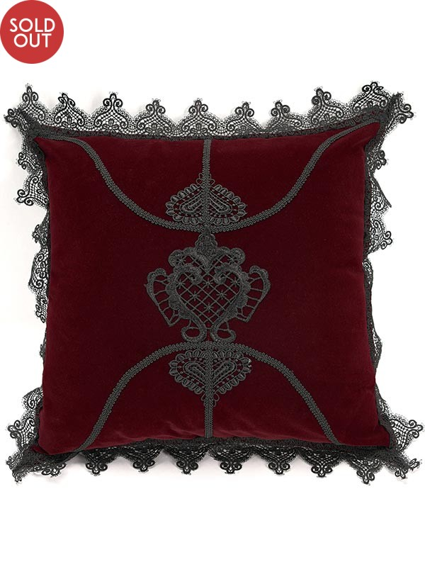 Gothic Flowers Cushion Cover - Red