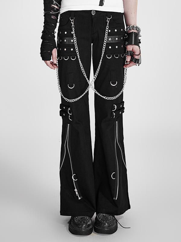 Punk Black Bell Bottom Pants With Detachable Chains