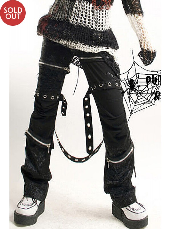 Punk Spiderweb Print Multi-Belt Pant