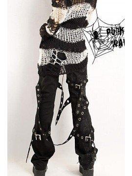 Punk Spiderweb Print Multi-Belt Pant