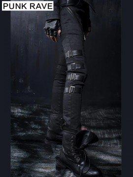 Punk Black Elastic Vintage Leather Pant