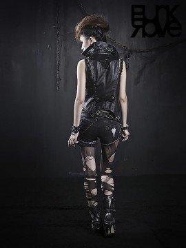 Punk Distressed Black Denim Shorts with Side Pocket