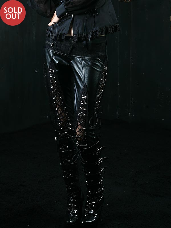 Gothic Hollow Out Bud Silk Leather Pant