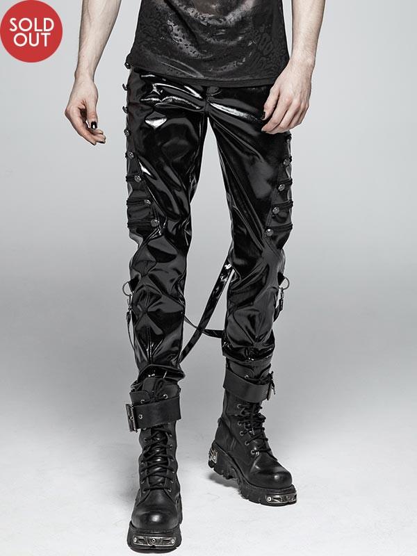 Mens Punk Military Style Embossed Dragon Rivet PVC Jeans