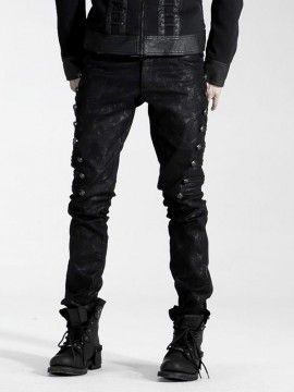Mens Punk Military Style Embossed Dragon Rivet Jeans