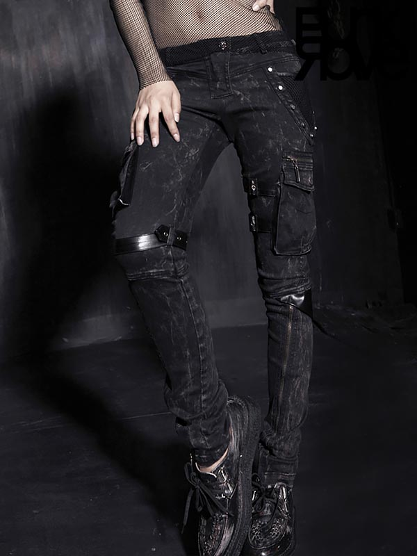 Gothic Diamond Mesh Black Jeans