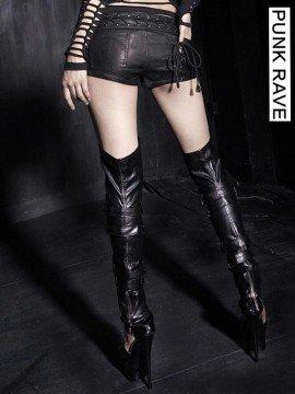 Sexy Punk Lace Pattern Leather Shorts