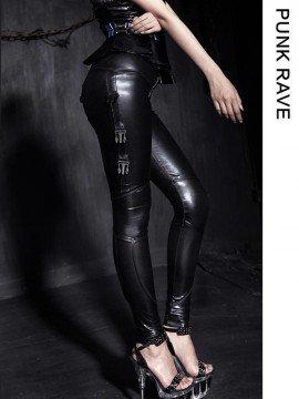 Gothic Shiny Stretch Black Leggings