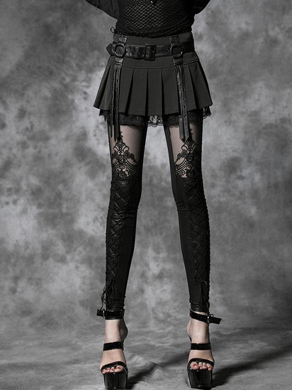 Gothic Embossed Decorative Leggings