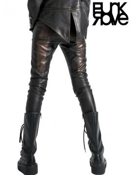 Bronze Leather Pant with Heavy Metal Awl Nails