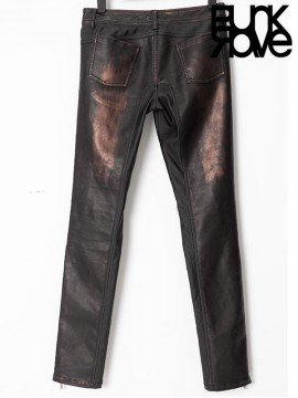 Mens Bronze Leather Pants with Heavy Metal Awl Nails