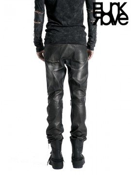 Mens Silver Leather Pants with Heavy Metal Awl Nails