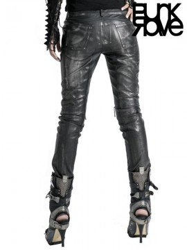 Silver Leather Pants with Heavy Metal Awl Nails