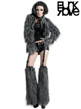 Punk Black Leather Shorts & Grey Furry Leggings