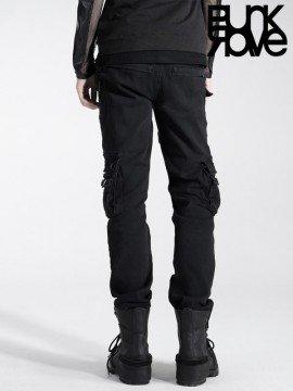Mens Punk Washed Black Denim Pants