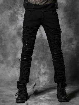 Mens Punk Torn Denim Pants
