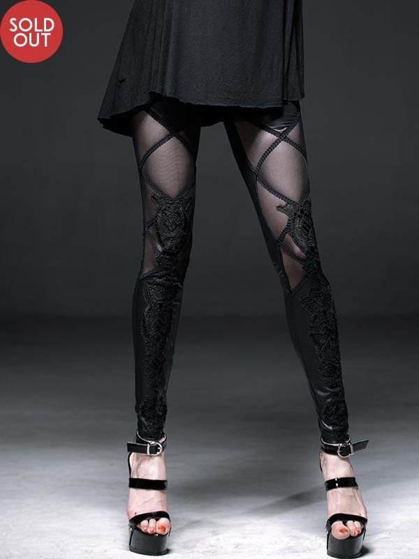 Lamination Mesh Lace Fake Boot Design Black Leggings