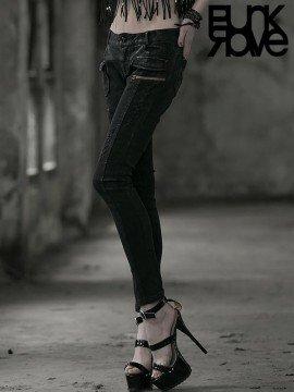Punk Black Distressed Denim Jeans