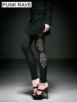 Gothic Knit Dark Fringe Jacquard Leggings