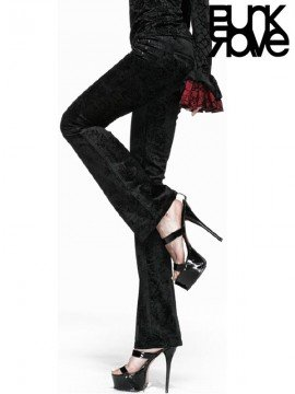 Gothic Nut Flower Printed Flared Trousers